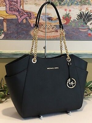 fce314d6b178 Michael Kors Jet Set Travel Large Chain Shoulder Tote Black Leather $378