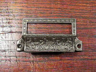 Vintage Antique Ornate Cast Iron Victorian Drawer Bin Pull Cup Handle Eastlake