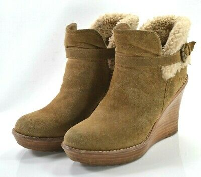 694a784ce0a Ugg Australia Anais Womens Tan Brown Suede Wedge Heel Ankle Bootie Boot US  Sz 9