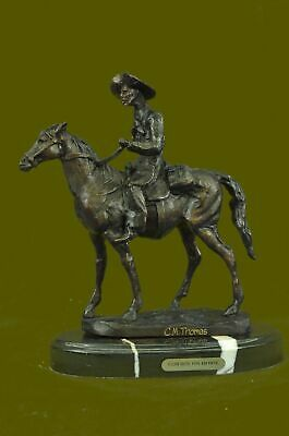 Old West Cowboy With Horse Bronze Sculpture Western Art Russelle Figurine Decor
