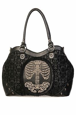 Banned Flocked Cameo Ribcage Skull Studded Frilled Victorian Style Handbag