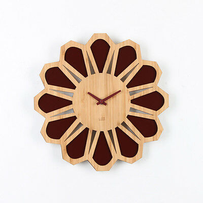 LOO Retro 70s Floral Sunburst Bamboo Wood Silent Vintage Wall Clock 30cm Brown