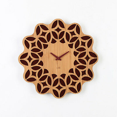 LOO Retro 60s Floral Sunburst Bamboo Wood Silent Vintage Wall Clock 30cm Brown