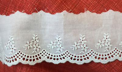 Dentelle broderie anglaise blanche 100% coton 55 mm Tarif dégressif Neuf