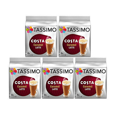 Tassimo T Discs Costa Caramel Latte 5 x 16 Coffee Pods 40 Drinks Servings Cups