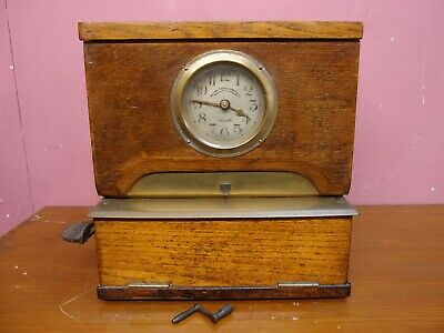 ANTIQUE OAK CASED CLOCKING IN CLOCK TIMEPIECE NATIONAL TIME RECORDER CO Ltd.