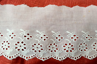 Dentelle broderie anglaise blanche 100% coton 90 mm 9 cm Tarif dégressif Neuf