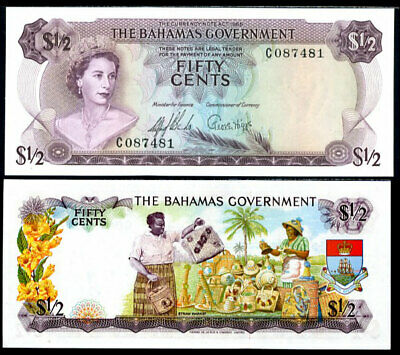 Bahamas 50 Cents 1/2 Dollar Nd 1965 P 17 Qe Ii Unc