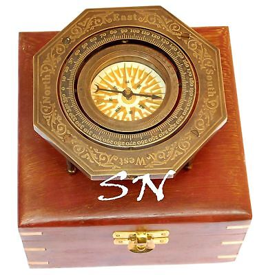 Vintage Brass Antique Stand Compass Nautical with Hardwood Box Collectibles Item