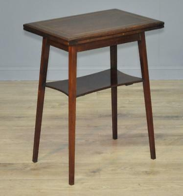 Attractive Small Antique Edwardian Mahogany Turn Over Card Games Hall Table