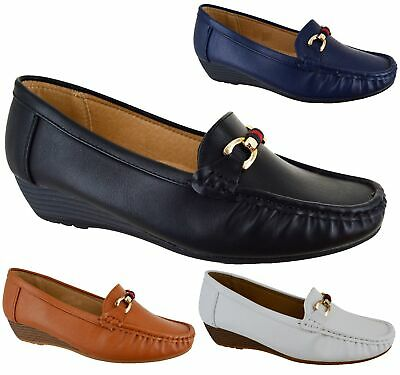 Womens Flat Low Wedge Heel Smart Casual Loafers Ladies Designer Style Shoes Size