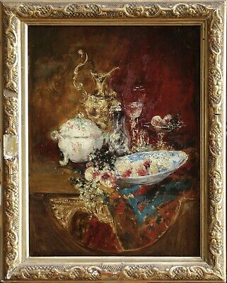 19th CENTURY FINE FRENCH IMPRESSIONIST OIL ON PANEL - STILL LIFE FRUIT & CHINA