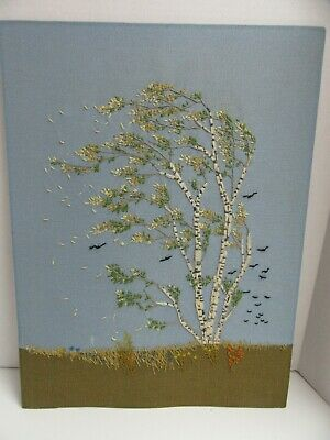 Finished Crewel Embroidery Paragon Birch Tree in Wind Completed 18x24