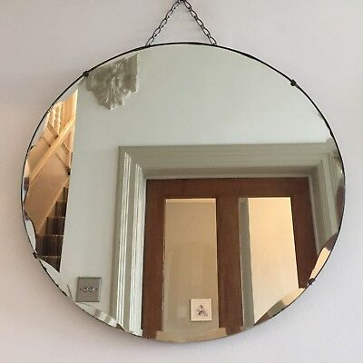 Large Round Vintage Frameless Mirror Bevelled Edge 1940s Circular Chain 53cm m96
