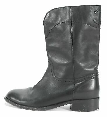 9c250eb5f8a CHANEL Black Leather CC Mid-Calf Boots Size 38 US 8