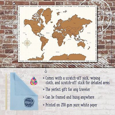 Large Scratch Off World Map Colourful Country Flag Travel Holiday Poster 86x60cm