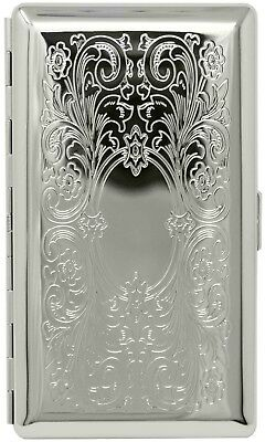 Silver Victorian Scroll (Half Pack– 10 120s) Metallic Cigarette Case With Mirror