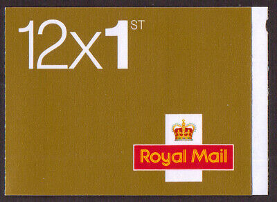 GB 12 x 1st class gold self-adhesive stamp (U3020) booklet MF5b with No Logo
