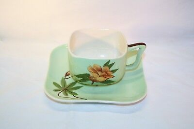 """**Beautiful** Vintage Weil Ware California Pottery """"Rose Green"""" Cup and Saucer"""