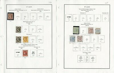 St Lucia Stamp Collection 1860-1935 on 4 Album Pages, Early Classics