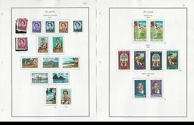 St Lucia Stamp Collection 1967 to 1976 on 24 Album Pages