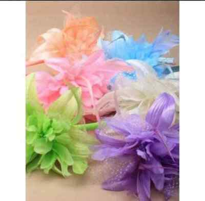 NEW Pastel  feather flower fascinator alice headband wedding races prom