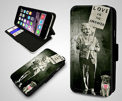 Banksy Einstein Love Is The Answer Graffiti Leather Wallet Flip Phone Case Cover