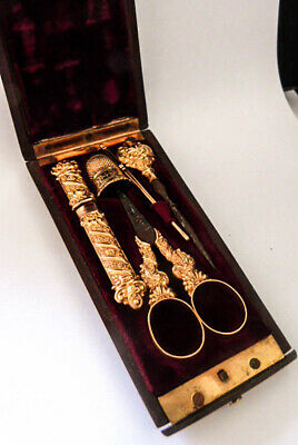Antique Napoleon III French 18K Gold Sewing Kit Fine 6 Piece Etui Carverd