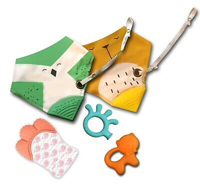 Baby Teething Bandana Bibs & Mitten Gift Set with 2 Teether Toys & Soother Clip