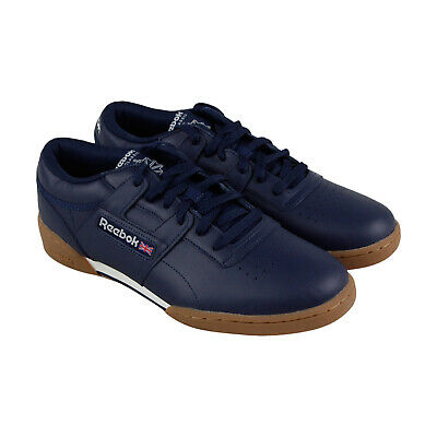 542c977a27e Reebok Workout Classics Ean Mu Mens Blue Leather Lace Up Sneakers Shoes