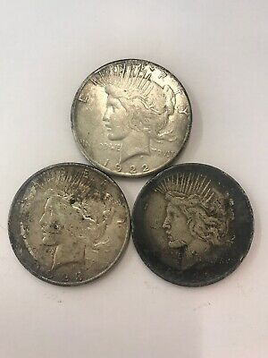 Lot Of 3 Silver Dollars Peace $1 Circulated Coins 1922 1923 NO RESERVE 90%