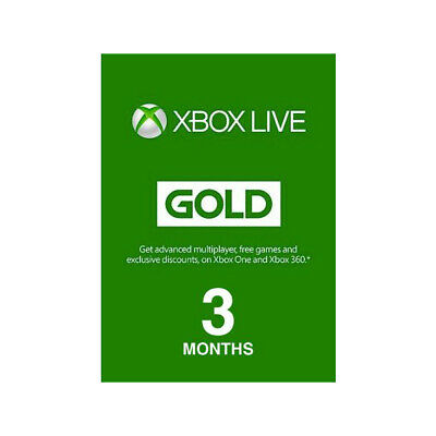 Microsoft Xbox Live 3 Month Gold Membership Digital Code - Email Delivery