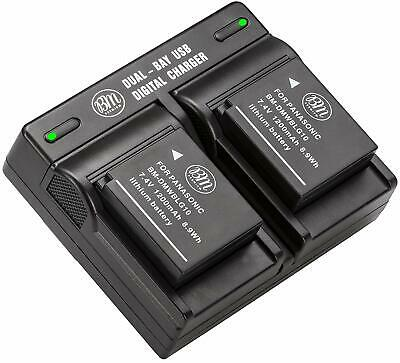 BM Premium Battery (2-Pack) and Dual Charger for Panasonic DMW-BLG10