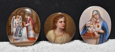 3 Three Porcelain Hand painted Religious Oval Round Plaque Plaques One Signed