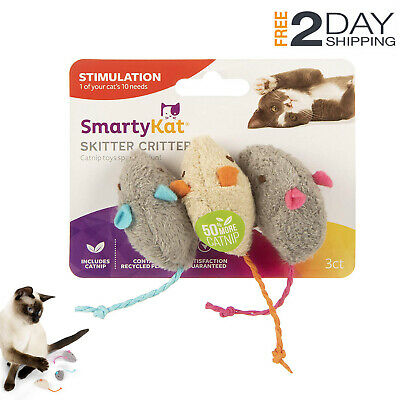Cat Toys Catnip 3 Adorable Mice Spiked With Pure And Potent Catnip SmartyKat NEW