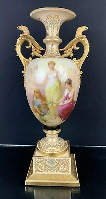 Extremely Large Antique Royal Vienna Vase With Double Portraits Fine Details