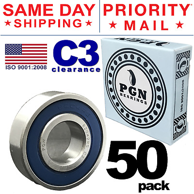 Lot of 50 PCS, 6204-2RS C3 Premium Rubber Sealed Ball Bearing, 20x47x14, 6204RS