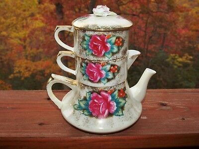 Lefton Stackable Cabbage Roses Tea Pot Stacking With Cream & Sugar