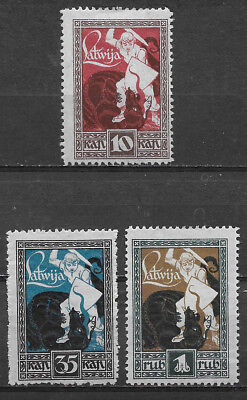 Latvia , 1919/20 , Warrior Slaying Dragon  ,  Set Of 3 , Perf ,  Vlh
