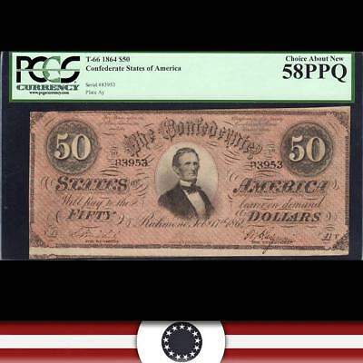 Dark Red T-66 1864 $50 Confederate Currency Pcgs 58 Ppq  83953