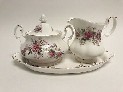 Royal Albert Lavender Rose Cream Covered Sugar And Tray - Larger Size