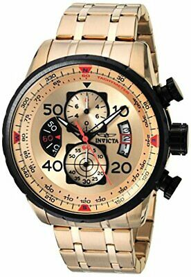 Invicta Mens AVIATOR 18k Gold Ion-Plated Watch