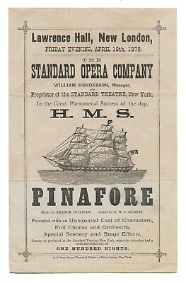 Antique 1879 H.M.S. PINAFORE Opera NEW LONDON CT Theater Playbill Program