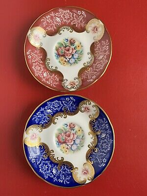 Vintage Paragon By Appointment China Only Saucer Gold Cobalt/ Gold Pink 2 Plate