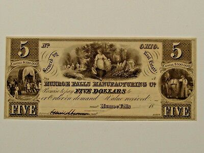 1836-1846 Munroe Falls Manufacturing Co. Ohio Note $5 Nice Steel Plate Engraving
