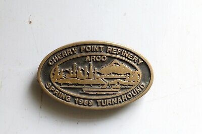 1989 Arco Solid Brass Cherry Point Refinery Belt Buckle - Lifetime Guarantee