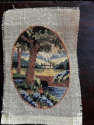 Vintage Miniature Needlepoint Tree Bridge Landscape Picture