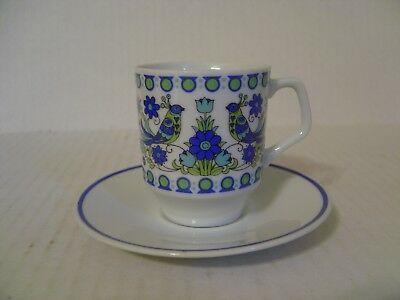 White Blue And Green Demitasse Cup And Saucer With Peacocks Marked 9049
