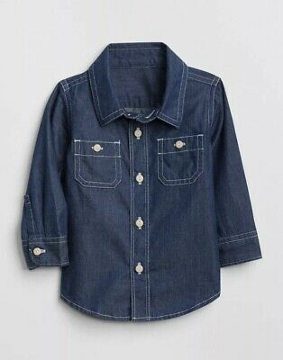 Gap Baby Boy Toddler Chambray Long Sleeve Shirt Top Denim Size 12-18 Months NWT