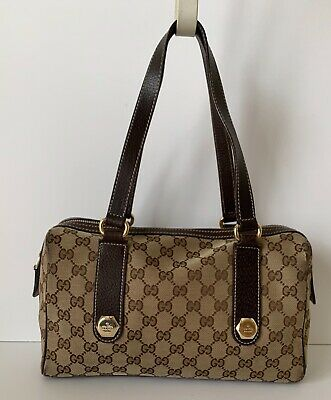 48e0146be8c8d AUTHENTIC GUCCI BROWN Canvas   Leather GG